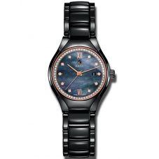 Rado Ladies True Diamonds Automatic Black Ceramic Bracelet Watch R27242852