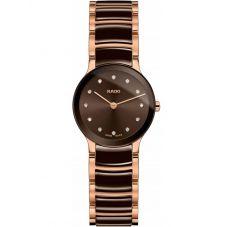 Rado Ladies Centrix Diamonds Quartz Brown and Rose Ceramic Bracelet Watch R30190702