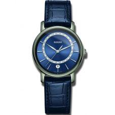 Rado Ladies DiaMaster Diamonds Quartz Blue Leather Strap Watch R14064725