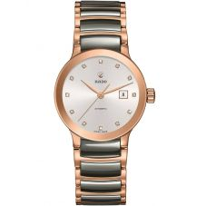 Rado Ladies Centrix Diamonds Automatic Grey and Rose Ceramic Bracelet Watch R30183762