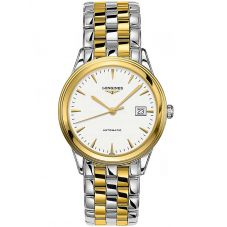 Longines Mens Flagship White Dial Two Colour Bracelet Watch L49743227