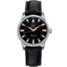 Longines Mens Conquest Heritage Black Leather Strap Watch L16114522