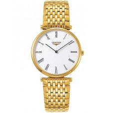 Longines Mens La Grande Classique White Dial Gold Plated Bracelet Watch L47552118