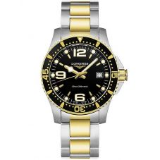 Longines Mens HydroConquest Quartz Black Dial Two Colour Bracelet Watch L37403567