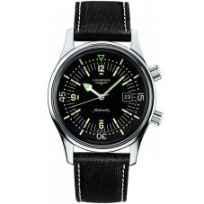 Longines Mens Legend Diver Black Textured Leather Strap Watch L37744500