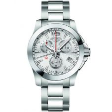 Longines Mens Conquest Chronograph Silver Dial Bracelet Watch L37004766