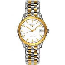 Longines Mens Flagship White Dial Two Colour Bracelet Watch L47743227
