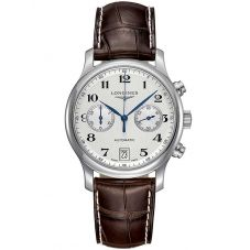 Longines Mens Master Chronograph Silver Dial Dark Brown Leather Strap Watch L26694783
