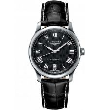 Longines Mens Master Black Dial Leather Strap Watch L26284517