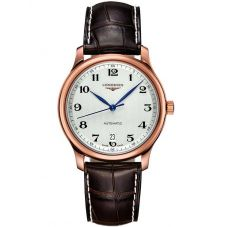 Longines Mens Master 18ct Rose Gold Brown Leather Strap Watch L26288783