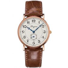 Longines Mens Presence Heritage 18ct Rose Gold Brown Leather Strap Watch L47858732
