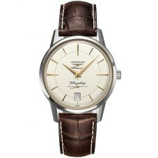 Longines Mens Flagship Heritage Brown Leather Strap Watch L47954782