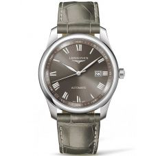 Longines Mens Master Light Grey Dial Leather Strap Watch L27934713