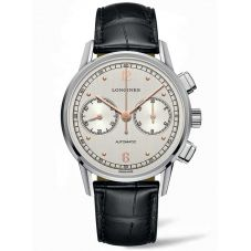 Longines Mens Heritage Chronograph 1940 Black Leather Strap Watch L28144760