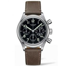 Longines Mens Heritage Avigation BigEye Special Edition Black Dial Brown Leather Strap Watch L28164532