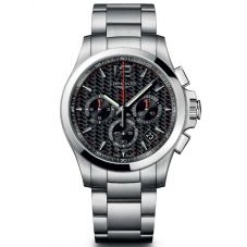 Longines Mens Conquest V.H.P Chronograph Black Dial Bracelet Watch L37174666