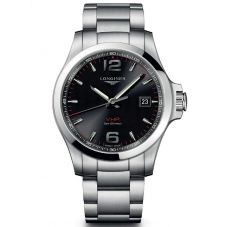 Longines Mens Conquest V.H.P Black Dial Bracelet Watch L37264566