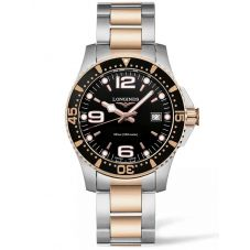 Longines Mens HydroConquest Quartz Black Dial Two Colour Bracelet Watch L37403587