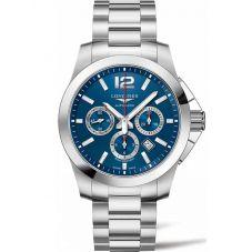 Longines Mens Conquest Chronograph Blue Dial Bracelet Watch L38014966