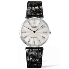 Longines Mens La Grande Classique Silver Dial Leather Strap Watch L49084712