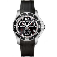 Longines Mens HydroConquest Quartz Chronograph Black Dial Black Rubber Strap Watch L37434562