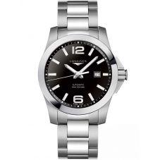 Longines Mens Conquest Black Dial Bracelet Watch L37784586