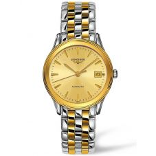 Longines Mens Flagship Gold Dial Two Colour Bracelet Watch L47743327