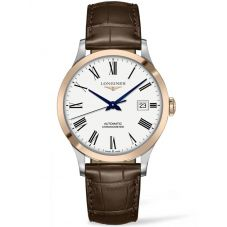 Longines Mens Record Two Colour Brown Leather Strap Watch L28215112