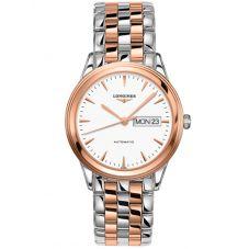 Longines Mens Flagship White Dial Two Colour Bracelet Watch L48993927