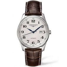 Longines Mens Master Silver Dial Brown Leather Strap Watch L28934783