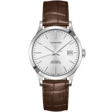 Longines Mens Record Silver Dial Brown Leather Strap Watch L28204722