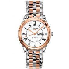 Longines Mens Flagship White Dial Two Colour Bracelet Watch L48993917