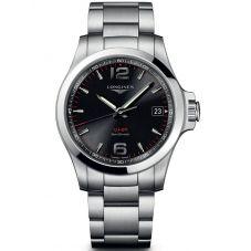 Longines Mens Conquest V.H.P Black Dial Bracelet Watch L37164566