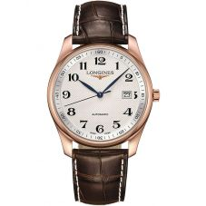 Longines Master 18ct Rose Gold White Dial Brown Leather Strap Watch L27938783