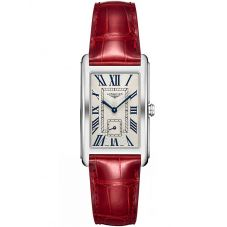 Longines Ladies DolceVita Silver Dial Red Leather Strap Watch L57554715