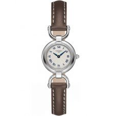 Longines Ladies Equestrian Silver Dial Brown Leather Strap Watch L61294712