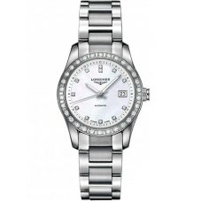 Longines Ladies Conquest Diamond Set Mother Of Pearl Dial Bracelet Watch L22850876