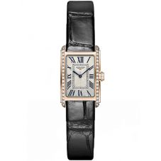 Longines Ladies DolceVita 18ct Rose Gold Diamond Set Black Leather Strap Watch L52589710