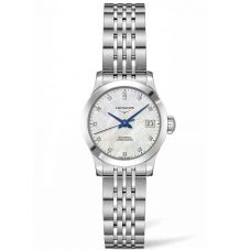 Longines Ladies Record Diamond Set Mother Of Pearl Dial Bracelet Watch L23204876