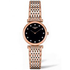 Longines Ladies La Grande Classique Diamond Set Black Dial Two Colour Bracelet Watch L42091577