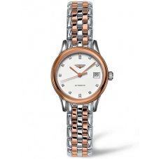 Longines Ladies Flagship Diamond Set White Dial Two Colour Bracelet Watch L42743997