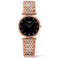 Longines Ladies La Grande Classique Diamond Set Black Dial Two Colour Bracelet Watch L45121577