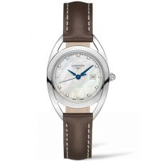 Longines Ladies Equestrian Diamond Set Mother Of Pearl Dial Brown Leather Strap Watch L61374872