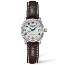 Longines Ladies Master Silver Dial Dark Brown Leather Strap Watch L21284783
