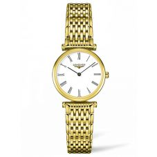 Longines Ladies La Grande Classique White Dial Gold Plated Bracelet Watch L42092118