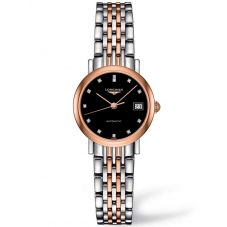 Longines Ladies Elegant Diamond Set Black Dial Two Colour Bracelet Watch L43095577