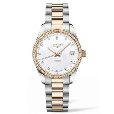 Longines Ladies Conquest Classic Diamond Set Mother Of Pearl Dial Two Colour Bracelet Watch L23855887