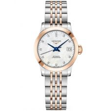 Longines Ladies Record Diamond Set Mother Of Pearl Dial Two Colour Bracelet Watch L23205877