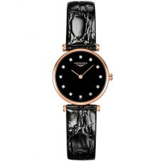 Longines Ladies La Grande Classique Diamond Set Black Dial Leather Strap Watch L42091572