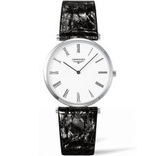 Longines Ladies La Grande Classique White Dial Black Leather Strap Watch L47554112